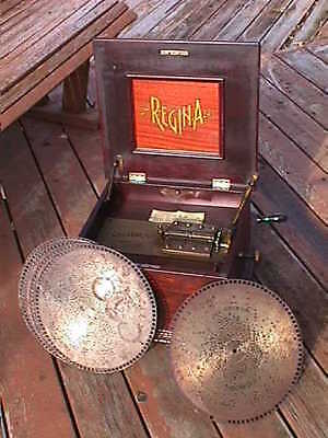 "REGINA 12"" Model 16 Mahogany MUSIC BOX Original DOUBLE Comb,CRANK,Labels+6 DISCS"