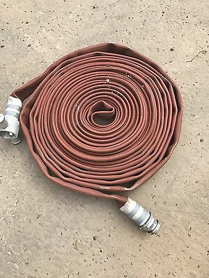 "Fire Hose,Lay Flat 1.5""  Dia X 17/20 M Long With 1"" 1/2  Quick ConnectCouplings"
