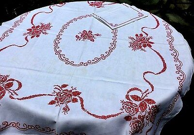 "HANDMADE Cross Stitched LINEN Tablecloth+6 Napkins. RED ROSES. VINTAGE.60"" x 49"""
