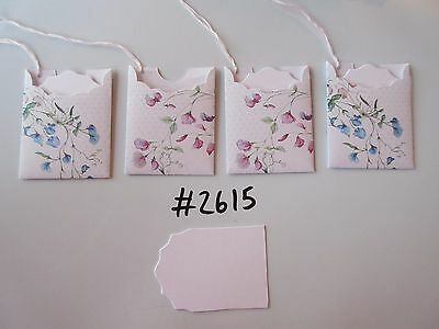 Set of 4 #2615 White with Pink and Blue Flowers Unique Handmade Gift Tags