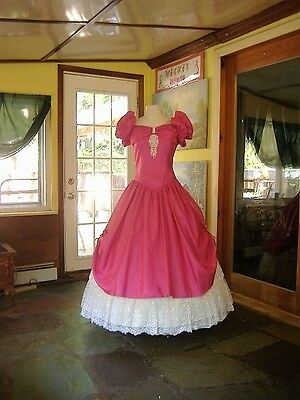 Cerise and Ivory Civil War Southern Belle Ball Gown - Size L