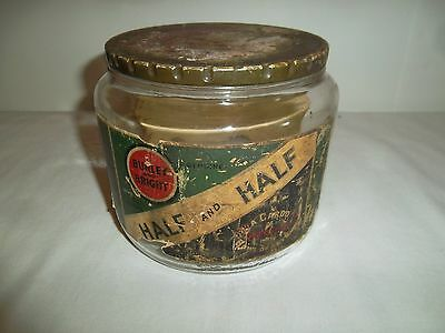 Vintage Burley and Bright Half & Half Tobacco Glass Jar Duraglas Pipe