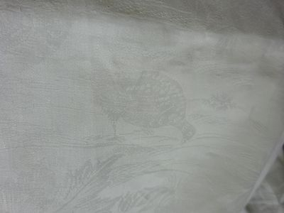 Antique Cream Lemon Damask Tablecloth Pheasant Grouse Shooting Game Banquet