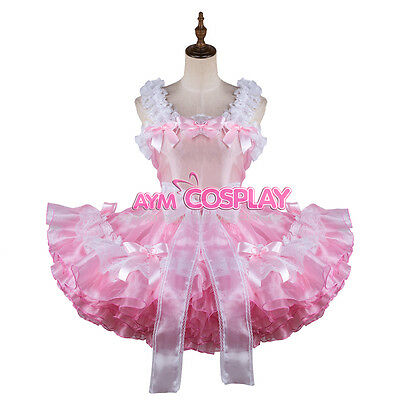 french sissy maid dress Organza lockable Unisex Tailor-made[G2129]