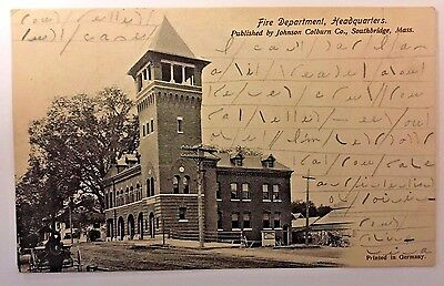 SOUTHBRIDGE, MA 1905 Fire Department Headquarters POSTCARD Mr. Ray B. Wells