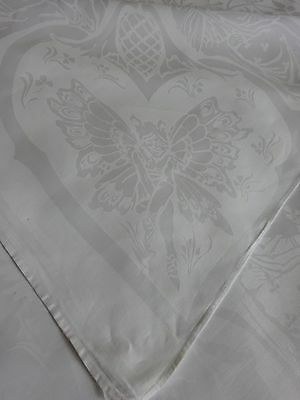 Antique Hand Woven Damask Tablecloth Wedding Fairy Tale Fairies Art Nouveau