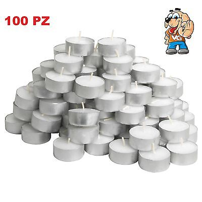 100 Pz Free* T-Light Candele Lumini Bianchi Durata 4 Ore Tea Light Scaldavivande