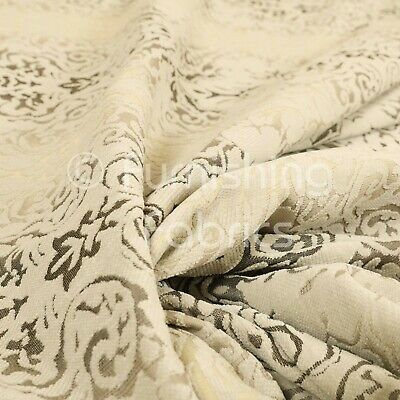 Luxurious Heavyweight Floral Soft Chenille Velvet In Silver Upholstery Fabric
