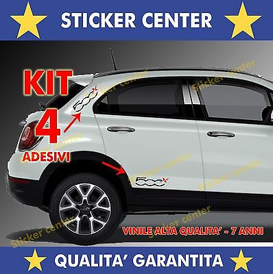Kit 4 Adesivi Sportello Porta Door Fiancata Fiat 500X 500 X Bicolore Sticker