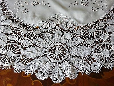 Pretty Small Round Lace Tablecloth Linen Handmade Vintage Antique Embroidery