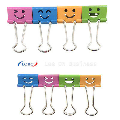 Assorted Smiley Foldback Bulldog Metal Binder Clips 40 x 19mm or 48 x 25mm