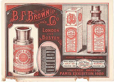 Orig 1890s B F Brown Polish illustr advertising insert, London, Boston interest