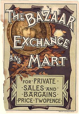 Original 1890s The Bazaar, Exchange & Mart, illustrated advertising insert