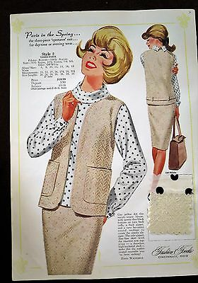 Fashion Frocks Dress Sample Style Sheet #2 - Vintage 1960s -w/ Fabric Swatches