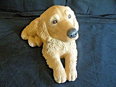 """Golden Retriever Laying By S. Brue Signed 10"""" Long 1989 Sandicast"""