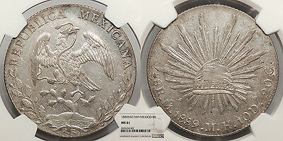 MEXICO 1889-Mo MH 8 Reales NGC MS-61