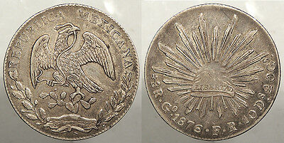 MEXICO: Guanajuato 1876-Go FR 8 Reales Possible overdate? #WC73584