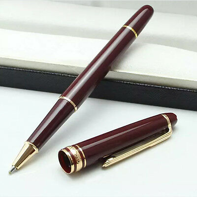 Classic Design New MB Luxury Red Rollerball Pen Meisterstuck #163 Gold Clip