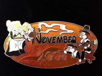Disney Pin Calendar Series 2008 NOVEMBER JUMBO Chip Dale Thanksgiving Feast Oval
