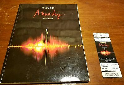 """Celine Dion """"A New  Day"""" Tour Program and 2003 Caesar's Palace Concert Ticket"""