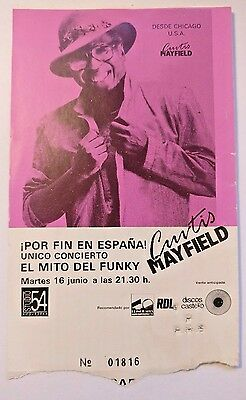 CURTIS MAYFIELD *1980s* original concert ticket barcelona VERY RARE