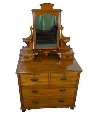 Antique Arts and Crafts Satin Walnut Dressing Chest Table with Mirror