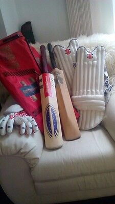 Gray Nicholls Cricket bag with Pads, Gloves, box and 2 Cricket bats Light use