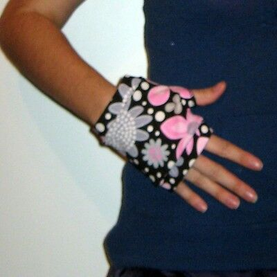 Black with Pink and Gray Flowers Wrist Warmers DIY Hand sewn Serged
