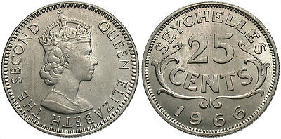 SEYCHELLES: 1966 25 Cents #WC70690