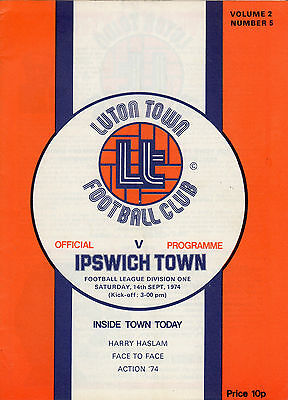 LUTON TOWN v IPSWICH TOWN, Div.1, SEPT 14th 1974