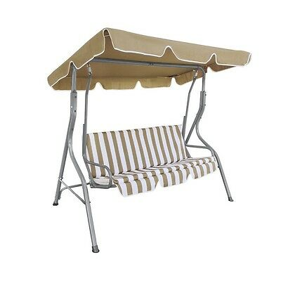 ALEKO Swing Bench Outdoor Canopy Porch Garden Chair with Swing Top Cover Sand