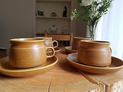 4x Denby Langley Canterbury Teacups and Saucers in Pristine Condition