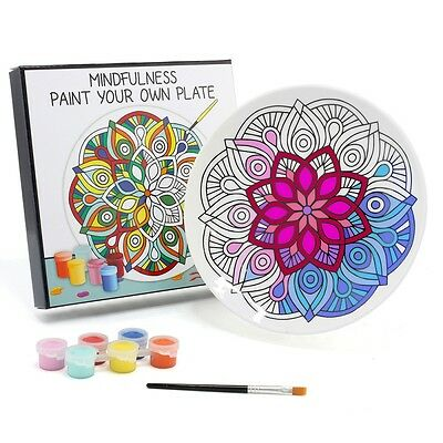 Mindfulness Paint Your Own Plate Stress Relief Adult Kids Colouring Arts & Craft