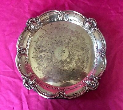 "Vintage SENIOR BAND Silver Plate Scalloped Ornate Round Tray 14"" - Nice!"