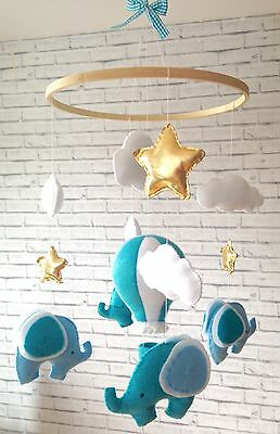 Baby mobile- hanging cot crib nursery mobile- hot air balloon elephants decor