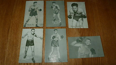 **reduced**  6 Assorted Vintage Boxing Exhibit Cards Willie Pep Ortiz Omar Baker