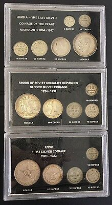 3 sets silver Russian coins, 1899-1927 total of 16 coins (lot 28)