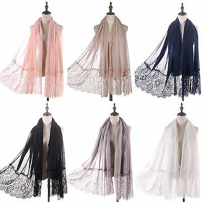 Large Soft Feminine Floral Lace Scarf Shawl Wrap Summer Beach Evening Cover-up