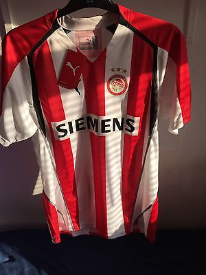 Mens BNWT Puma Olympiakos Sz Large Football Shirt Retro 2005 - 2006 L BRAND NEW