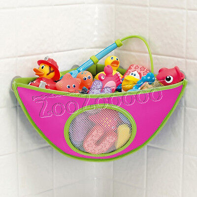 Kids Baby Bath Toy Tidy Organizers Corner Storage Bag Holder Sucker Cup pink UK