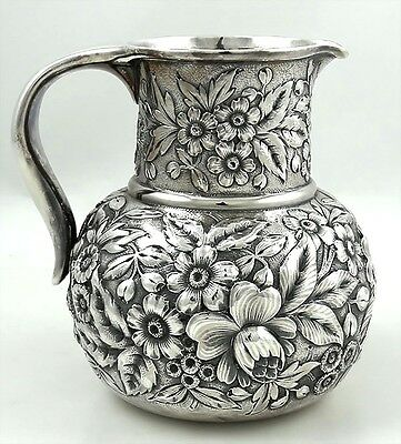Whiting REPOUSSE Sterling Pitcher Gorgeous Floral Decoration