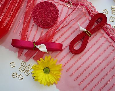 Bra / Knicker Elastics and Findings in Red Colour - Various Sizes