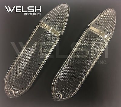 Early Jaguar E-Type (61-65) Clear Front Turn Signal Lens Pair - 8616-E