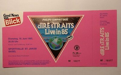 DIRE STRAITS *1985* original unused concert ticket tour germany VERY RARE