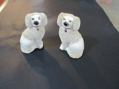 Vintage Pair of Staffordshire Poodle Dogs--Made In ENGLAND