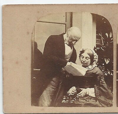 Stereo Stereoview Genre THE ANNOUNCEMENT (Roger Fenton?) London?  ca. 1860