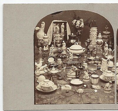 Stereo Stereoview Genre Still Life with STEREOVIEWER London ca. 1860