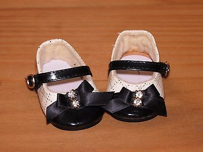 Shoes To Fit The American Galoob Baby Face Girl Doll Black & White Bow Maryjane