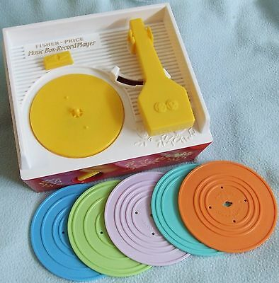 FISHER PRICE Music Box Record Player - With 5 Disks - Retro TOY - VGC