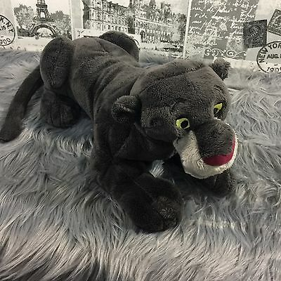 "Disney Store The Jungle Book Bagheera Panther Plush 16"" Dark Gray Cat Mowgli"